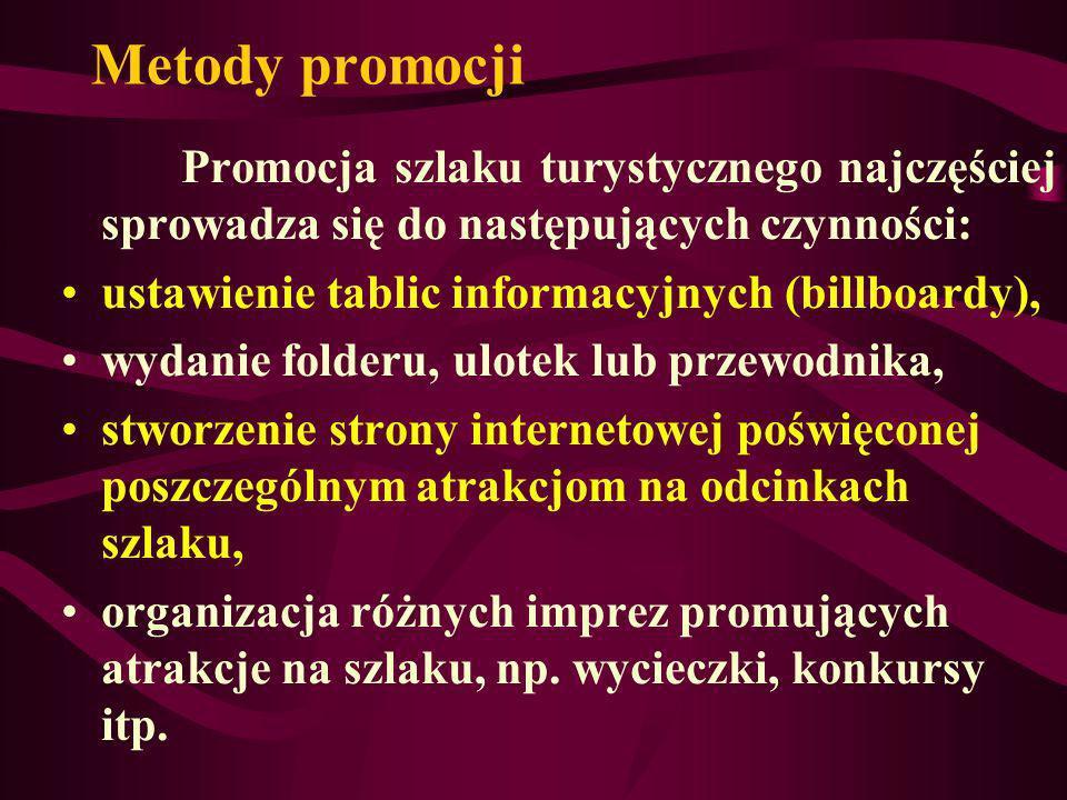 Metody promocji Promocja szlaku turystycznego najczęściej sprowadza się do następujących czynności: