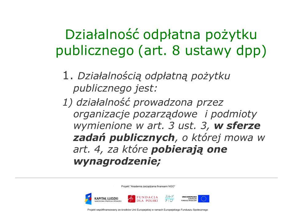 Działalność odpłatna pożytku publicznego (art. 8 ustawy dpp)