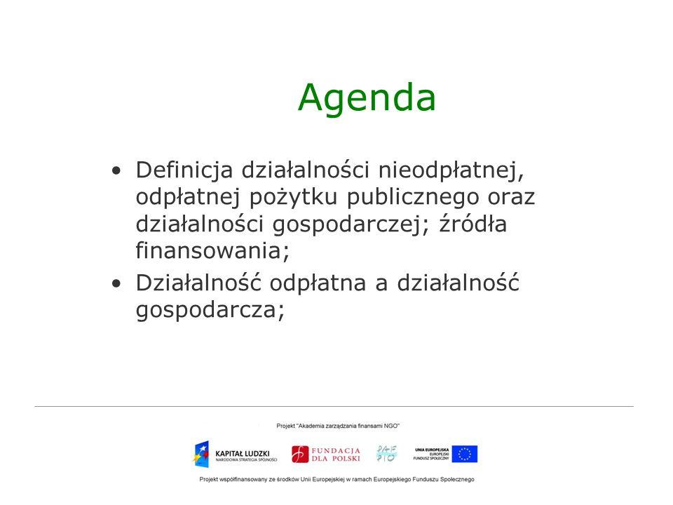 Agenda Definicja działalności nieodpłatnej, odpłatnej pożytku publicznego oraz działalności gospodarczej; źródła finansowania;