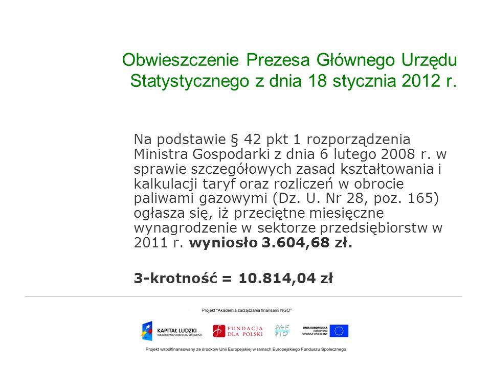 Obwieszczenie Prezesa Głównego Urzędu Statystycznego z dnia 18 stycznia 2012 r.