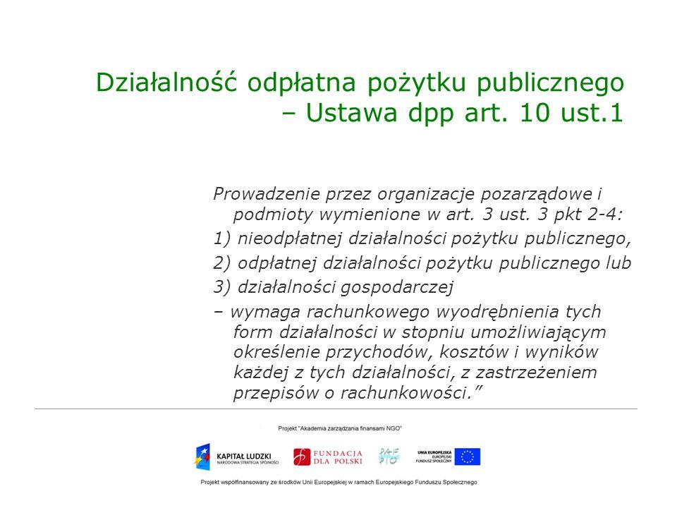 Działalność odpłatna pożytku publicznego – Ustawa dpp art. 10 ust.1
