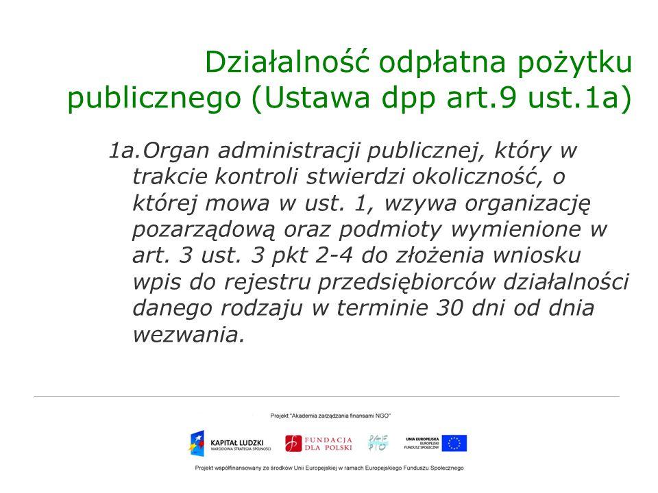 Działalność odpłatna pożytku publicznego (Ustawa dpp art.9 ust.1a)