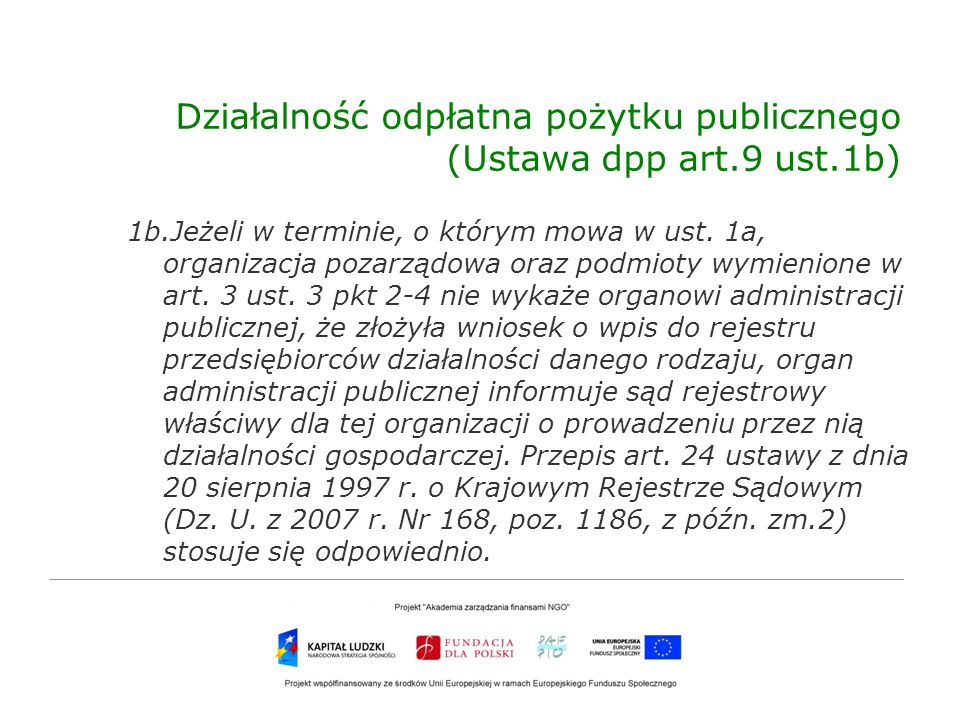 Działalność odpłatna pożytku publicznego (Ustawa dpp art.9 ust.1b)