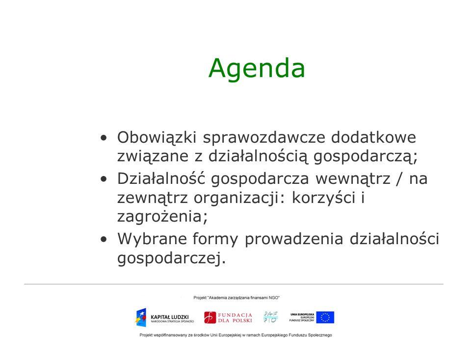 AgendaObowiązki sprawozdawcze dodatkowe związane z działalnością gospodarczą;