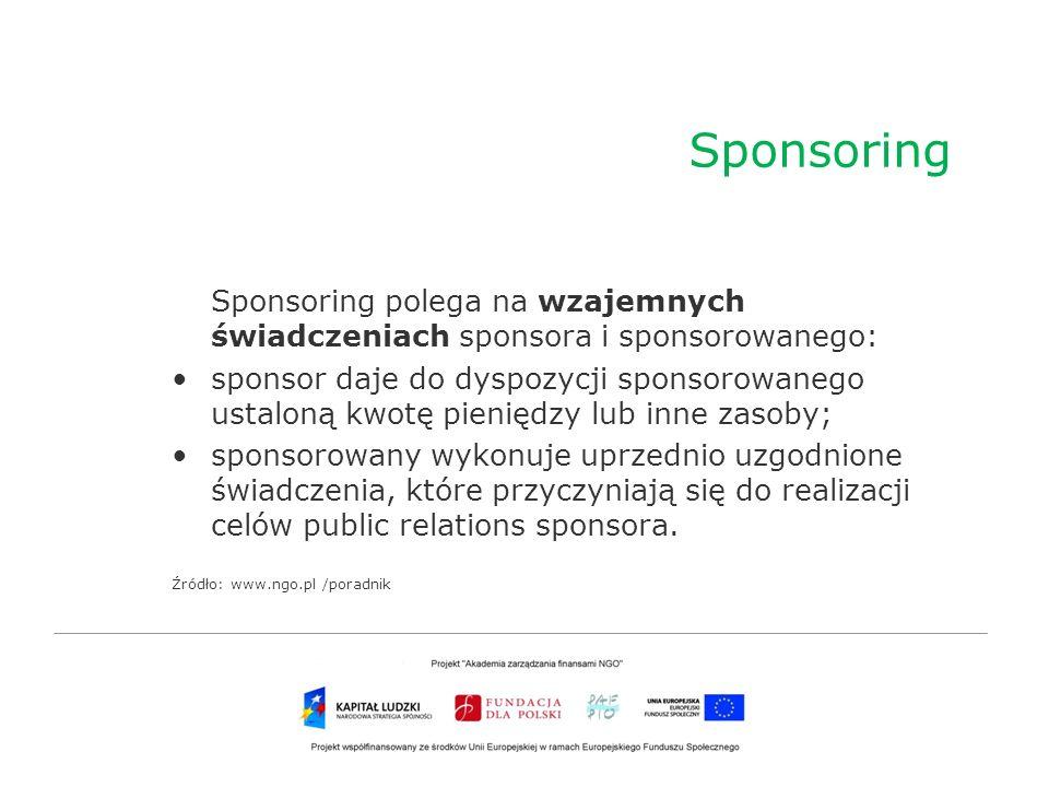 Sponsoring Sponsoring polega na wzajemnych świadczeniach sponsora i sponsorowanego:
