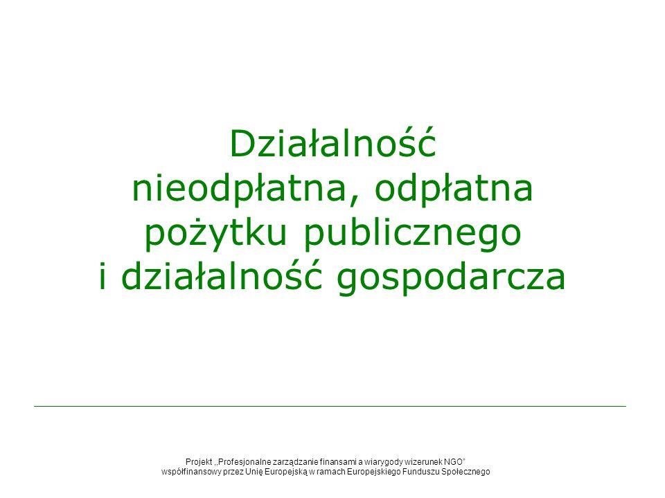 Działalność nieodpłatna, odpłatna pożytku publicznego i działalność gospodarcza