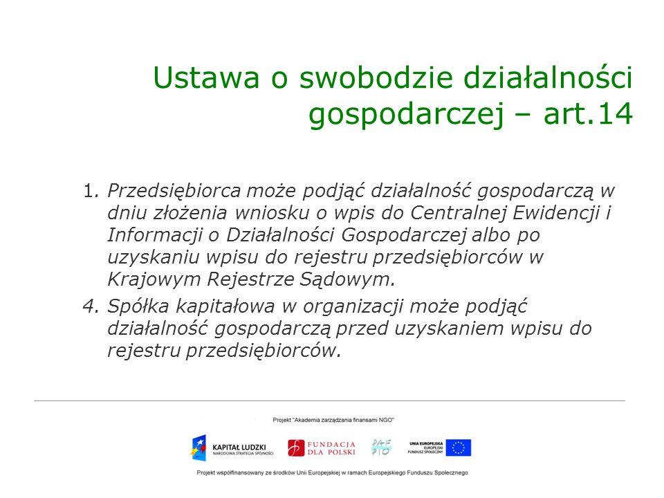 Ustawa o swobodzie działalności gospodarczej – art.14