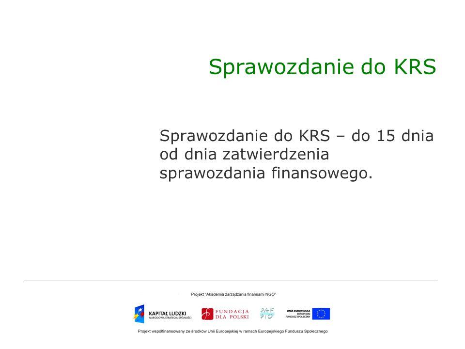 Sprawozdanie do KRS Sprawozdanie do KRS – do 15 dnia od dnia zatwierdzenia sprawozdania finansowego.