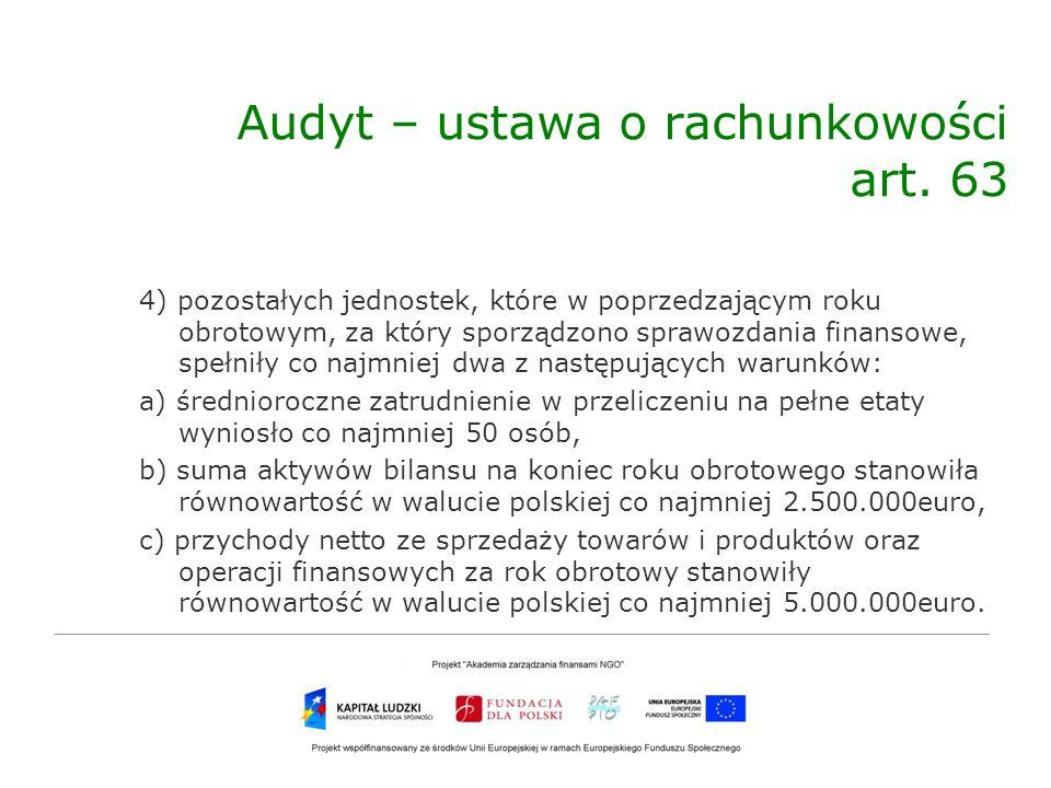 Audyt – ustawa o rachunkowości art. 63