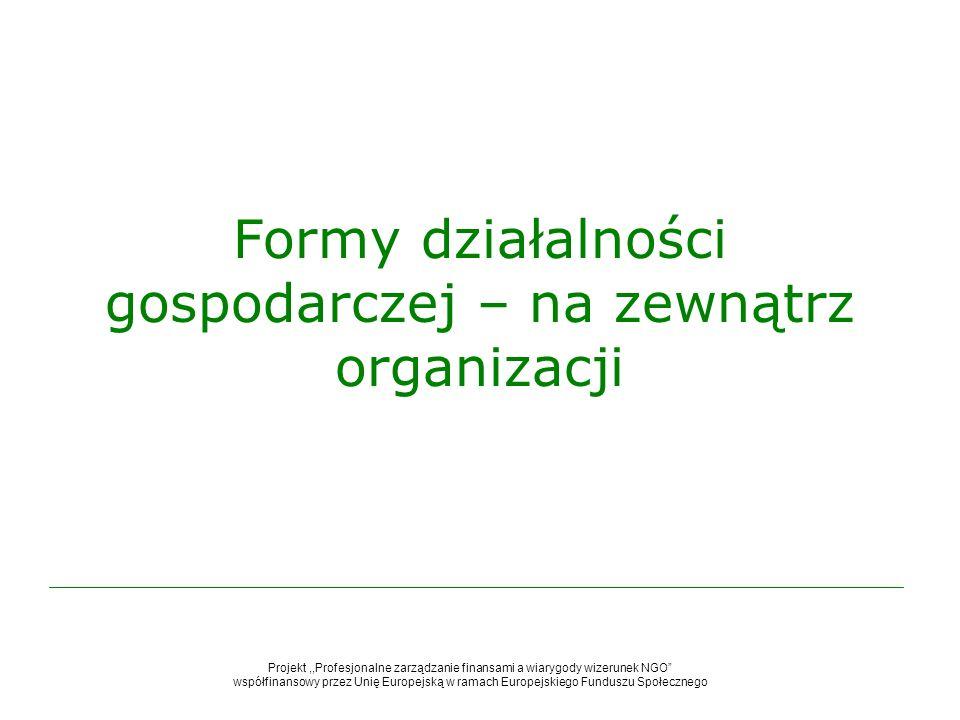 Formy działalności gospodarczej – na zewnątrz organizacji
