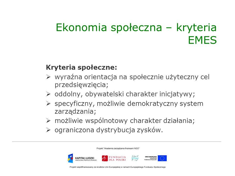 Ekonomia społeczna – kryteria EMES