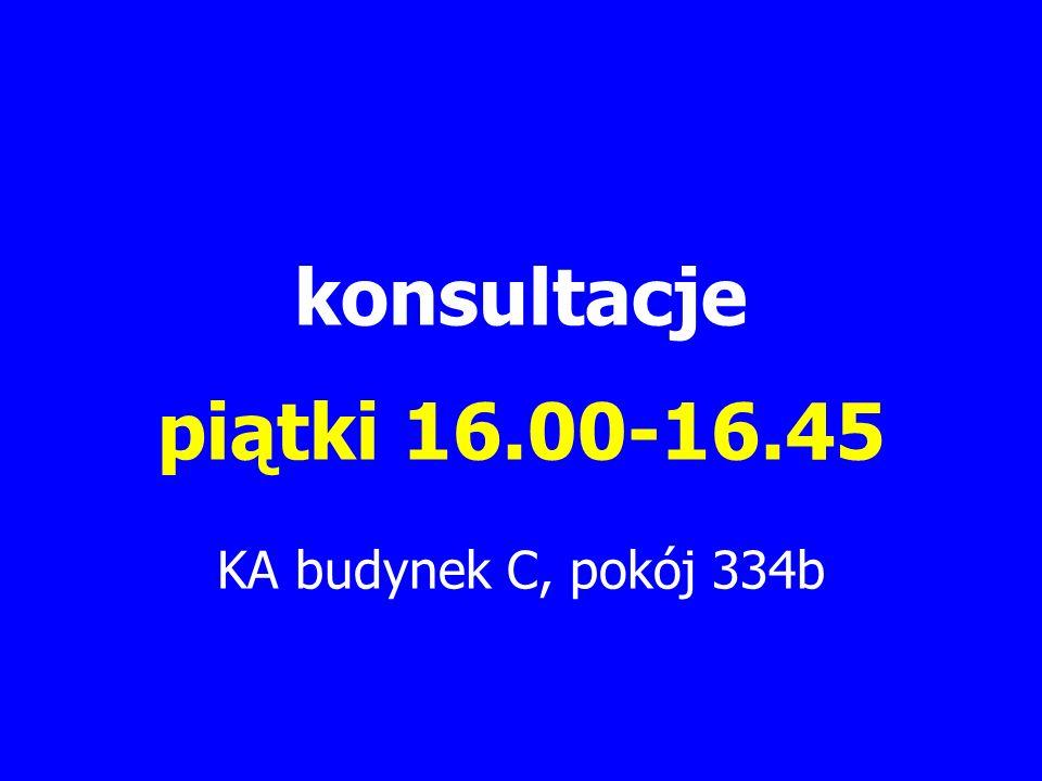 konsultacje piątki 16.00-16.45 KA budynek C, pokój 334b