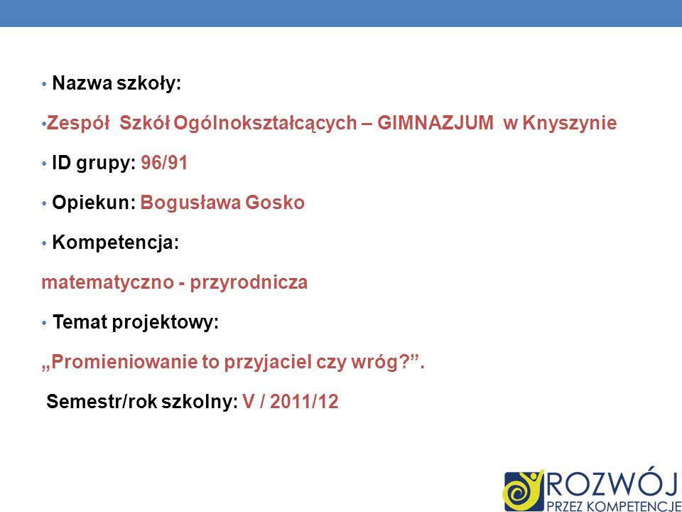 Nazwa szkoły: Zespół Szkół Ogólnokształcących – GIMNAZJUM w Knyszynie. ID grupy: 96/91. Opiekun: Bogusława Gosko.