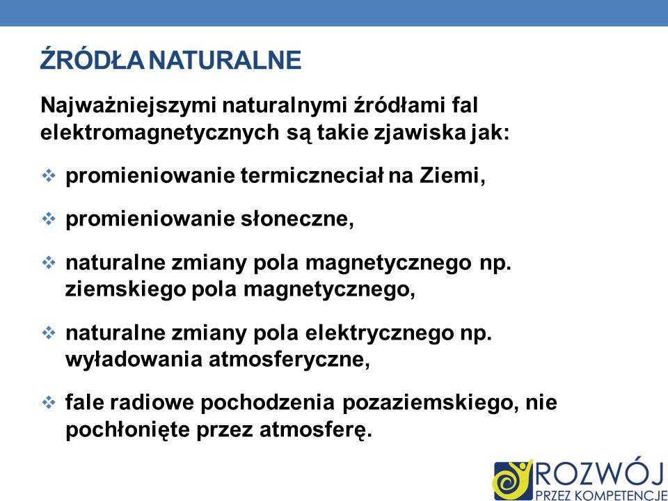 Źródła naturalne Najważniejszymi naturalnymi źródłami fal elektromagnetycznych są takie zjawiska jak: