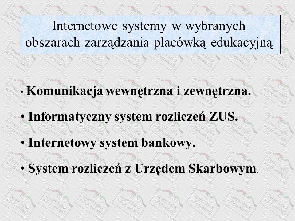 Internetowe systemy w wybranych obszarach zarządzania placówką edukacyjną
