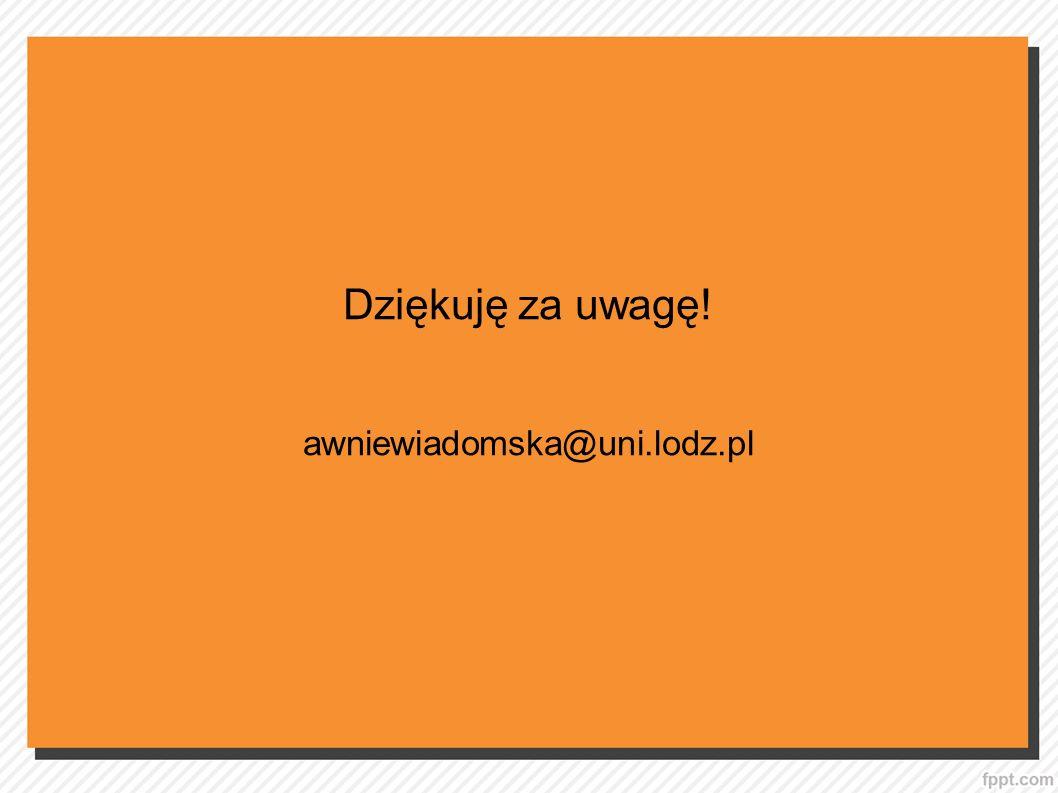 Dziękuję za uwagę! awniewiadomska@uni.lodz.pl 19