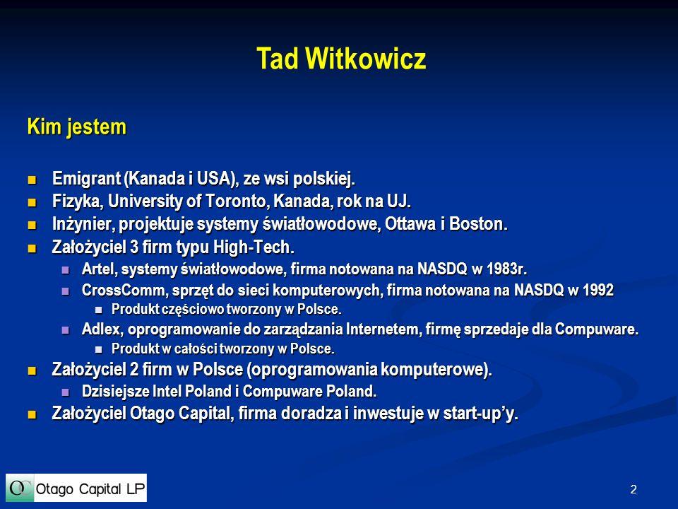 Tad Witkowicz Kim jestem Emigrant (Kanada i USA), ze wsi polskiej.
