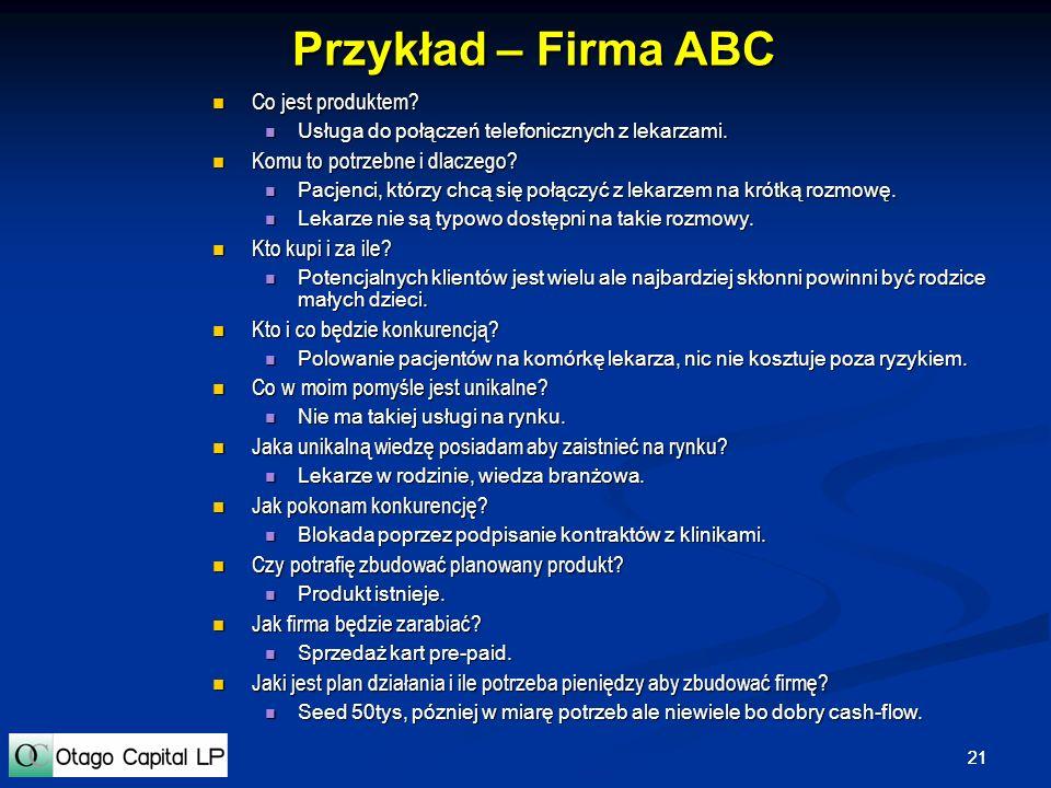 Przykład – Firma ABC Co jest produktem Komu to potrzebne i dlaczego