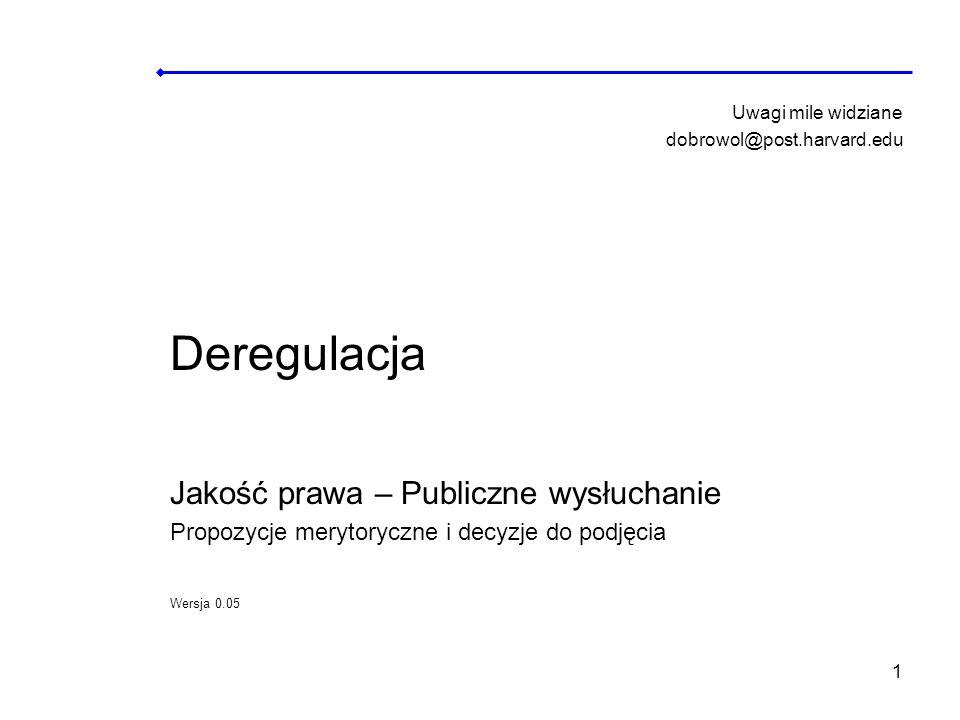 Deregulacja Jakość prawa – Publiczne wysłuchanie