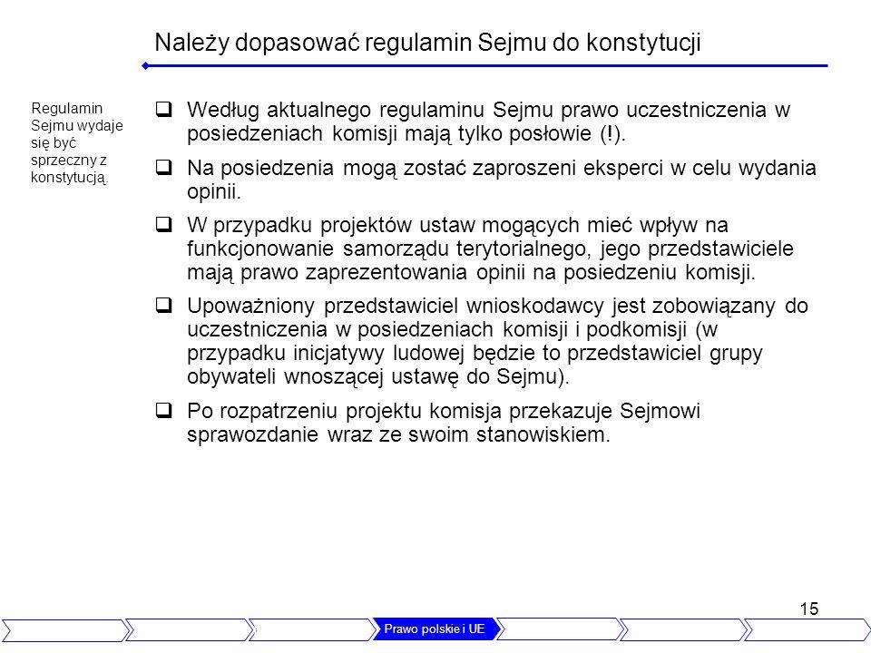 Należy dopasować regulamin Sejmu do konstytucji
