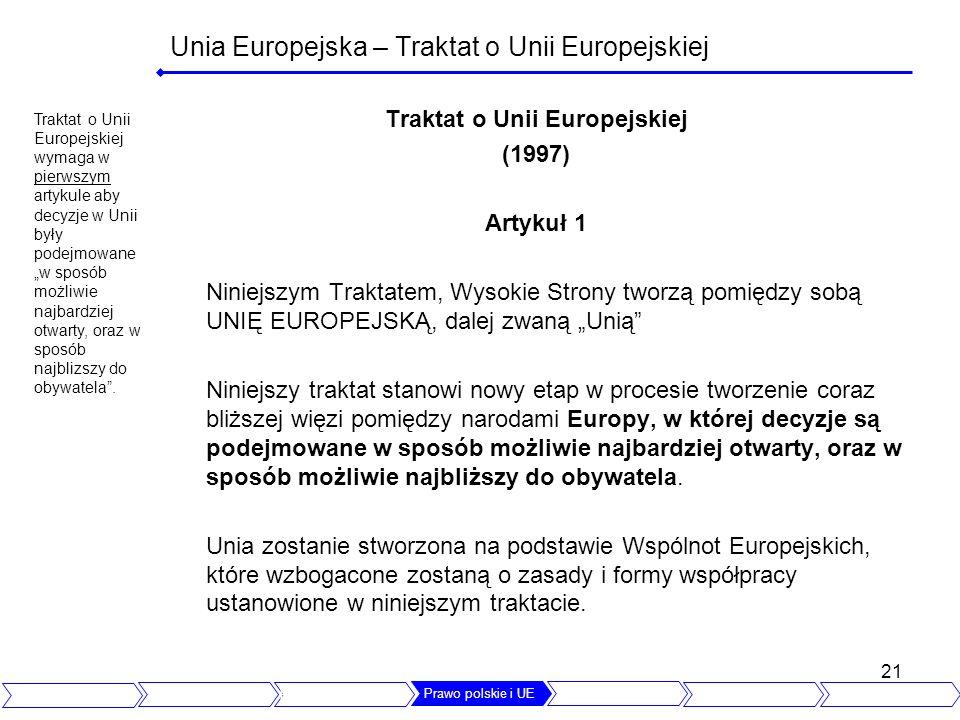 Unia Europejska – Traktat o Unii Europejskiej