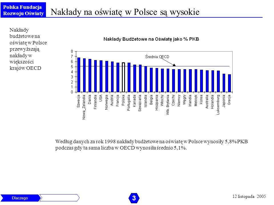 Nakłady na oświatę w Polsce są wysokie