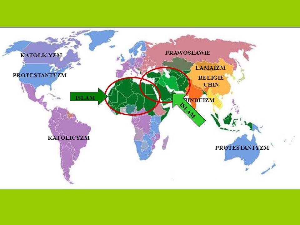 PRAWOSŁAWIE KATOLICYZM. LAMAIZM. PROTESTANTYZM. RELIGIE CHIN. ISLAM. HINDUIZM. ISLAM. KATOLICYZM.