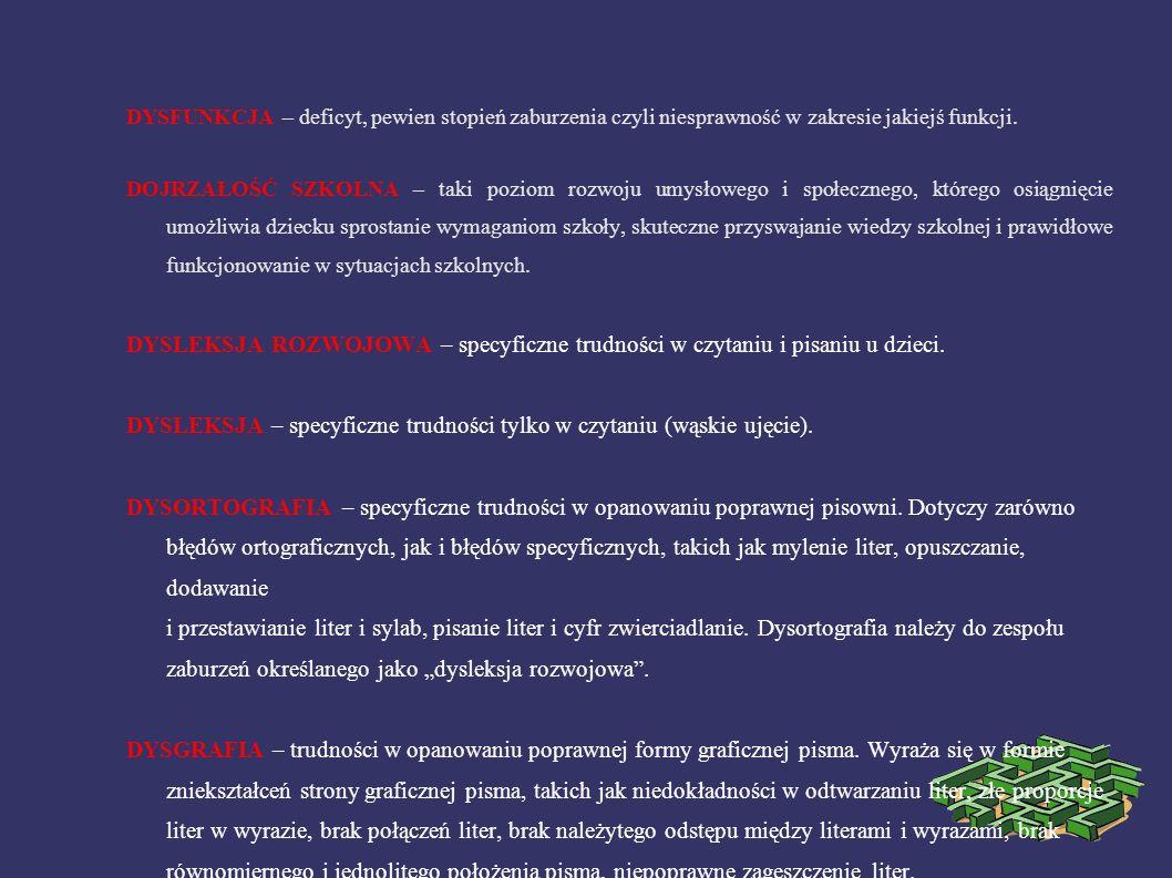 DYSLEKSJA – specyficzne trudności tylko w czytaniu (wąskie ujęcie).