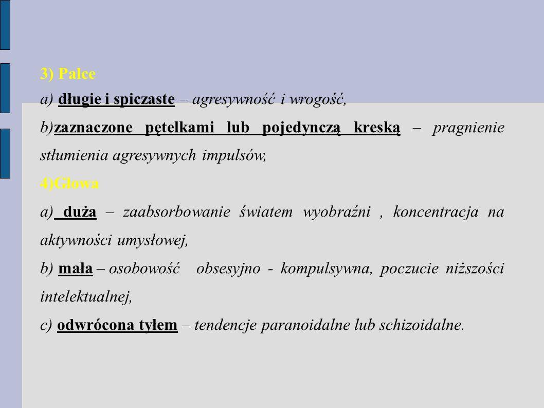 3) Palce a) długie i spiczaste – agresywność i wrogość, b)zaznaczone pętelkami lub pojedynczą kreską – pragnienie stłumienia agresywnych impulsów,