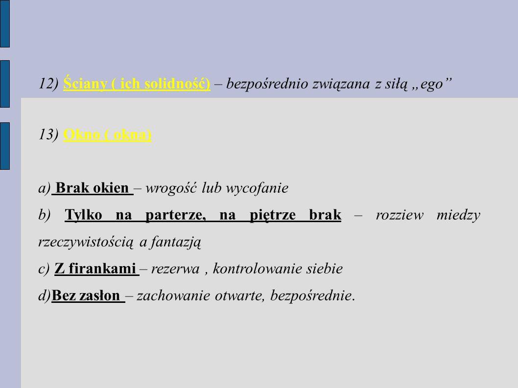 """12) Ściany ( ich solidność) – bezpośrednio związana z siłą """"ego"""