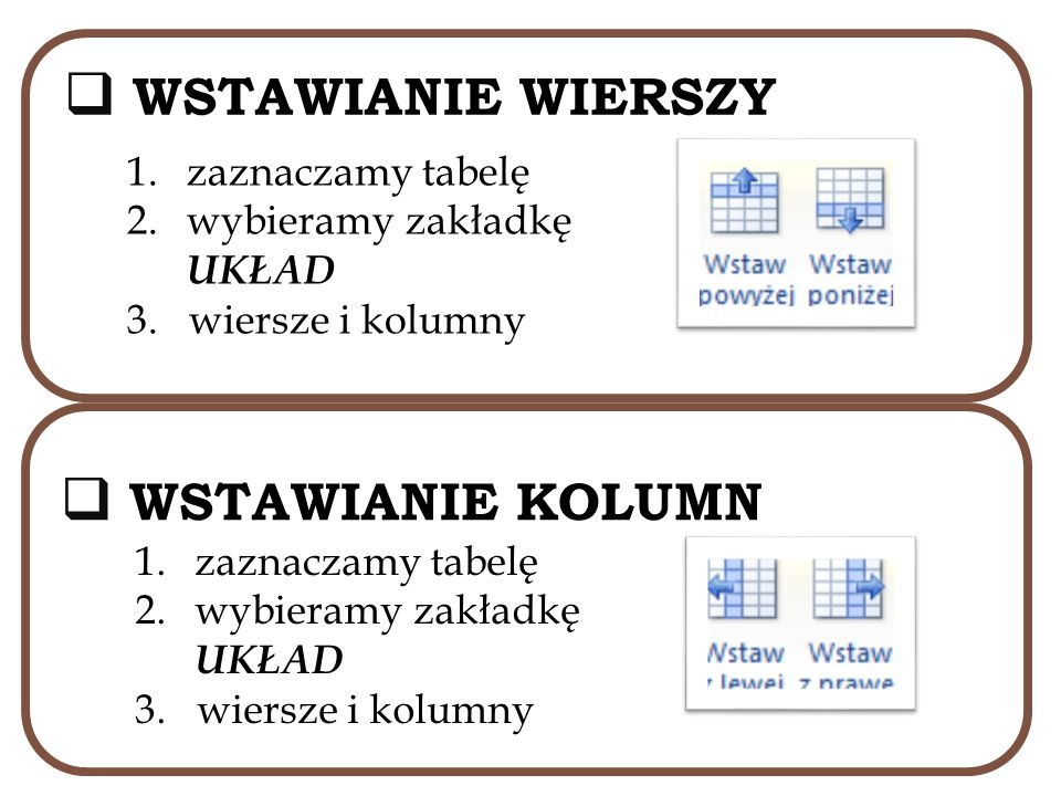 WSTAWIANIE WIERSZY WSTAWIANIE KOLUMN zaznaczamy tabelę