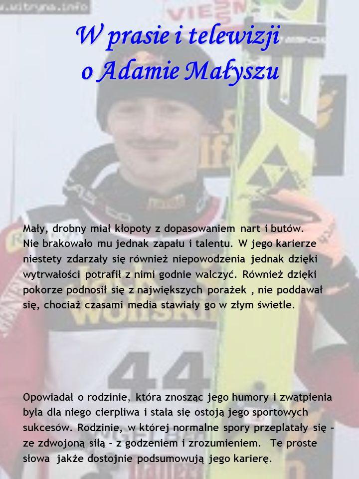 W prasie i telewizji o Adamie Małyszu