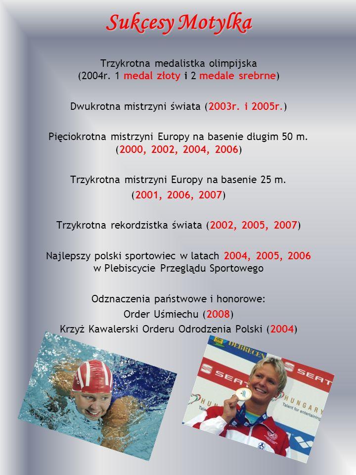 Sukcesy Motylka Trzykrotna medalistka olimpijska (2004r. 1 medal złoty i 2 medale srebrne) Dwukrotna mistrzyni świata (2003r. i 2005r.)
