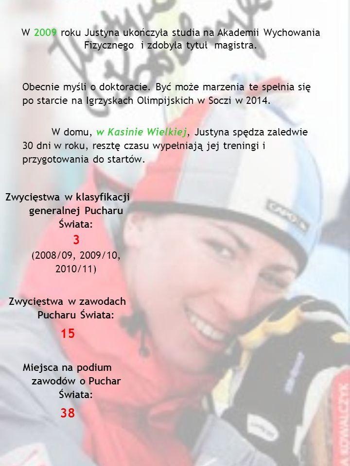 W 2009 roku Justyna ukończyła studia na Akademii Wychowania Fizycznego i zdobyła tytuł magistra.