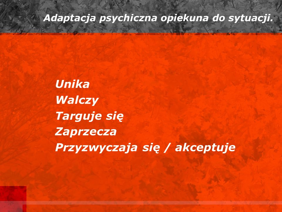 Adaptacja psychiczna opiekuna do sytuacji.