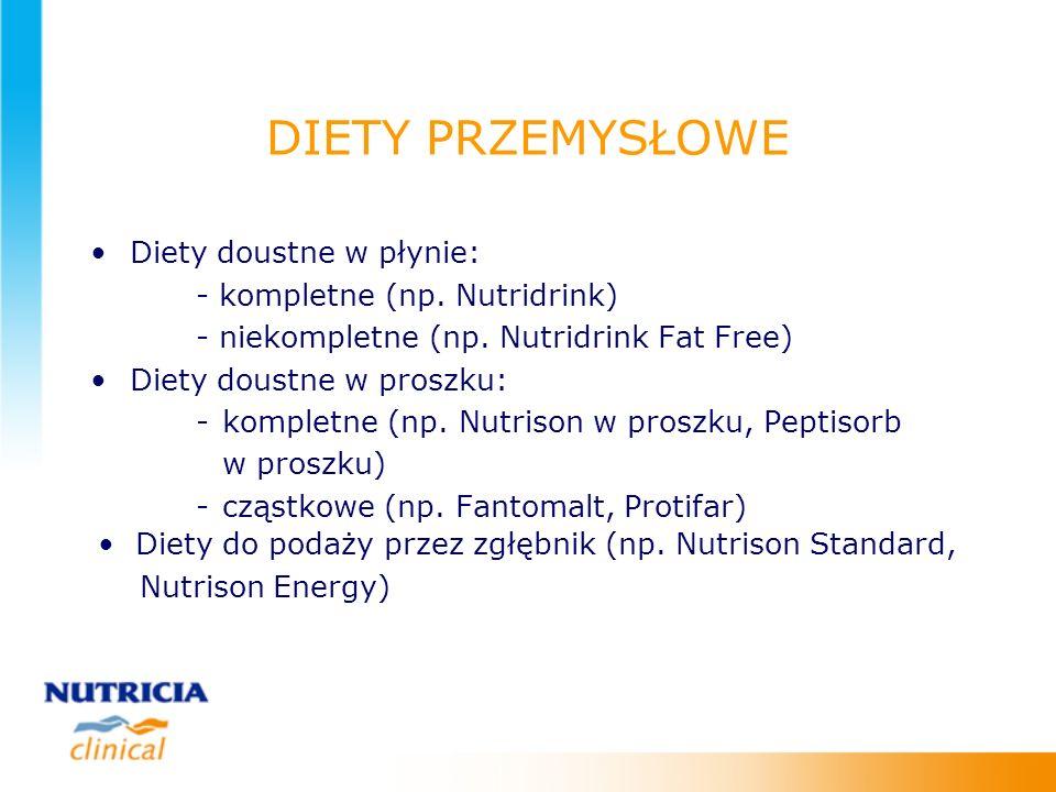 DIETY PRZEMYSŁOWE Diety doustne w płynie: - kompletne (np. Nutridrink)