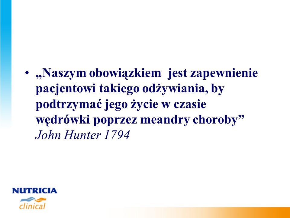 """""""Naszym obowiązkiem jest zapewnienie pacjentowi takiego odżywiania, by podtrzymać jego życie w czasie wędrówki poprzez meandry choroby John Hunter 1794"""