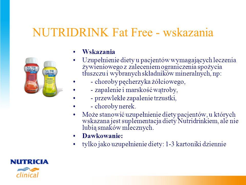 NUTRIDRINK Fat Free - wskazania