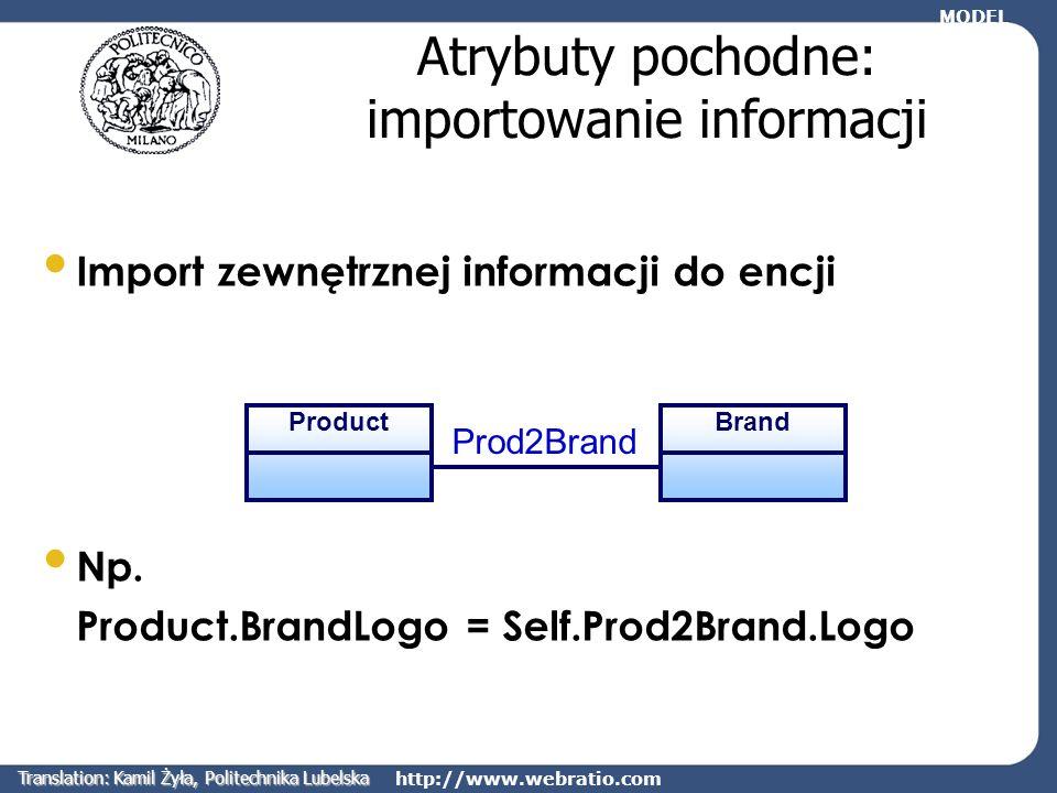 Atrybuty pochodne: importowanie informacji
