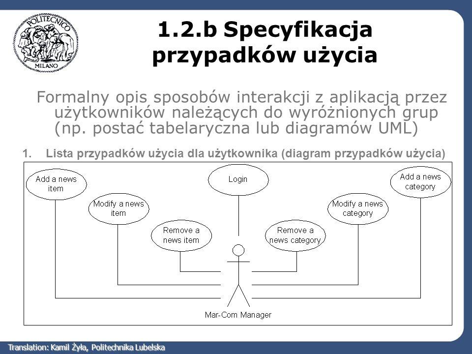 1.2.b Specyfikacja przypadków użycia