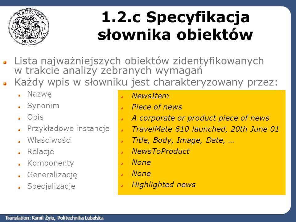 1.2.c Specyfikacja słownika obiektów