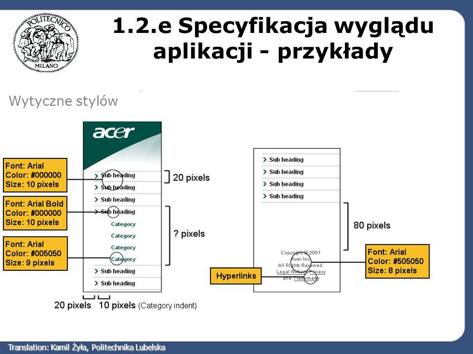 1.2.e Specyfikacja wyglądu aplikacji - przykłady
