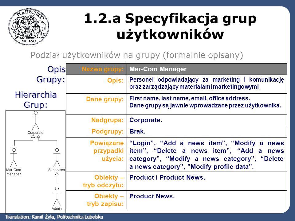 1.2.a Specyfikacja grup użytkowników