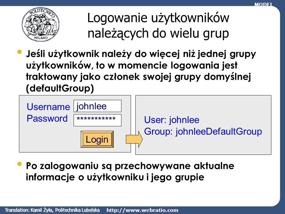 Logowanie użytkowników należących do wielu grup