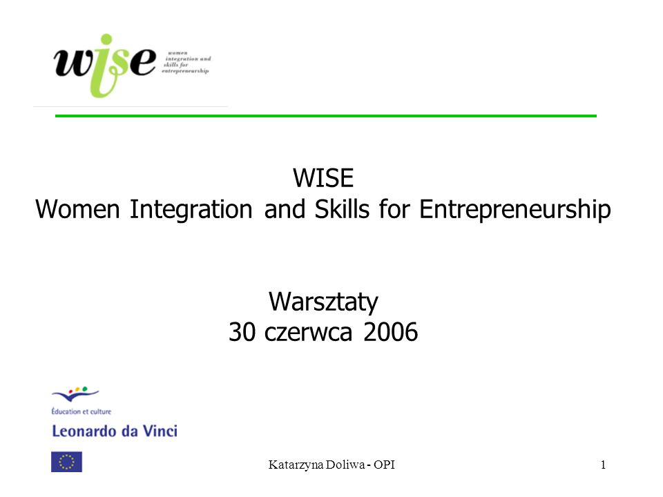 WISE Women Integration and Skills for Entrepreneurship Warsztaty 30 czerwca 2006
