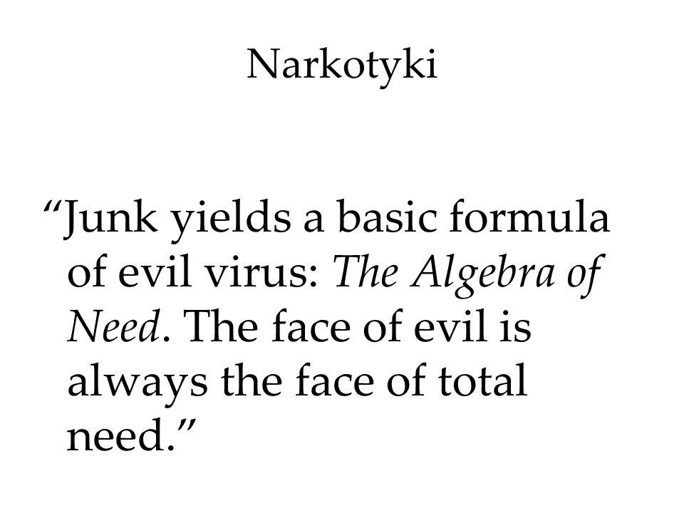 Narkotyki Junk yields a basic formula of evil virus: The Algebra of Need.