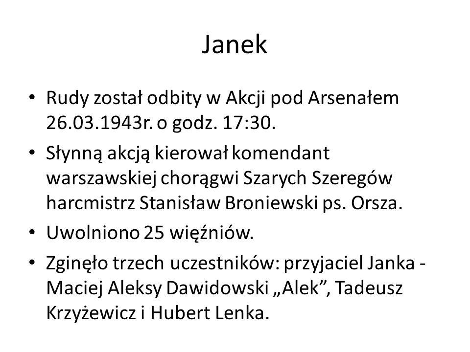 Janek Rudy został odbity w Akcji pod Arsenałem 26.03.1943r. o godz. 17:30.