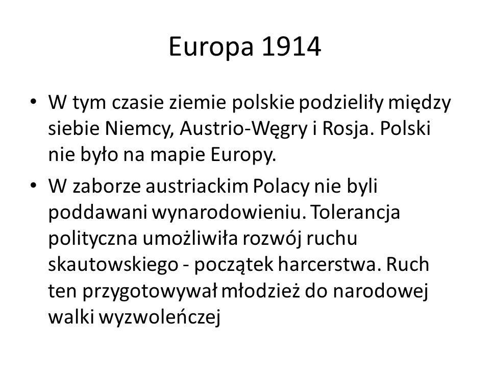 Europa 1914 W tym czasie ziemie polskie podzieliły między siebie Niemcy, Austrio-Węgry i Rosja. Polski nie było na mapie Europy.