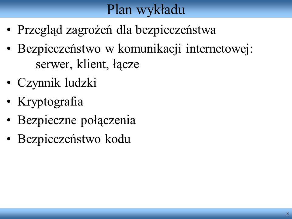 Plan wykładu Przegląd zagrożeń dla bezpieczeństwa