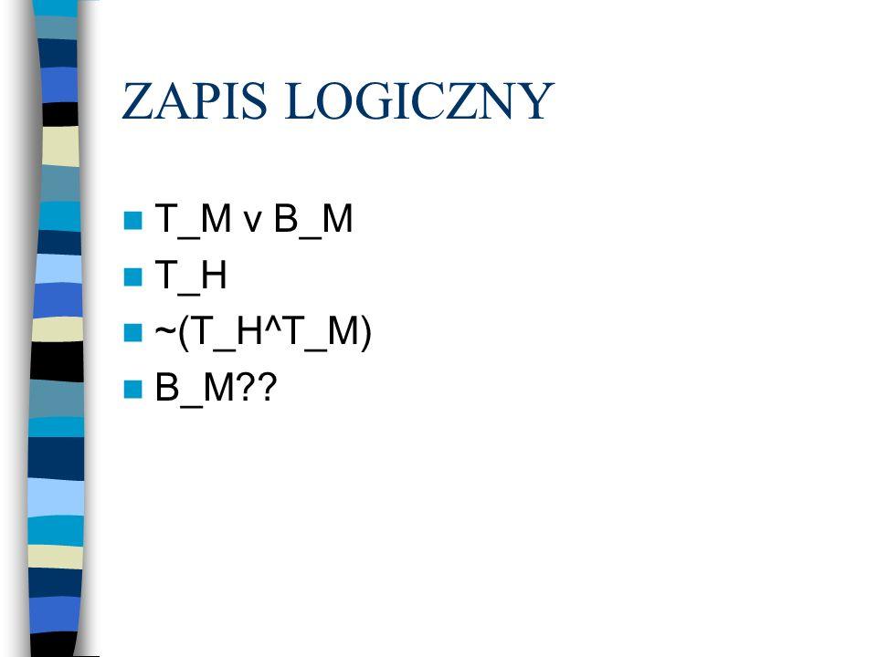 ZAPIS LOGICZNY T_M v B_M T_H ~(T_H^T_M) B_M